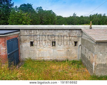 Old ilitary fort wall with riffle slits