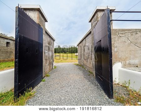 Open gates of an old military fort