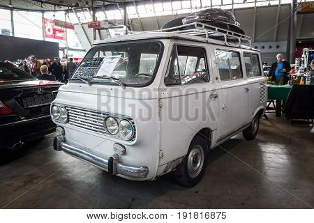 STUTTGART GERMANY - MARCH 03 2017: The minibus Fiat 850 Familiare 1964. Europe's greatest classic car exhibition
