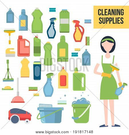 Cleaning supplies and woman staff service flat icons set