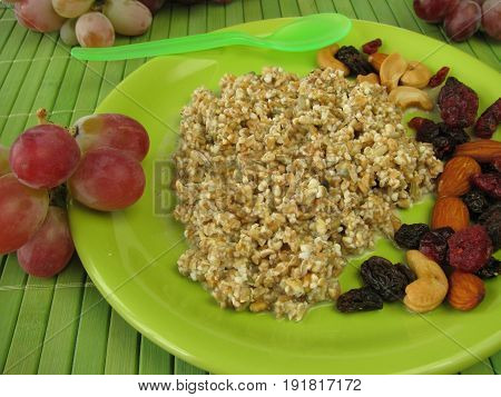 Fresh grain muesli with nuts and dried fruits