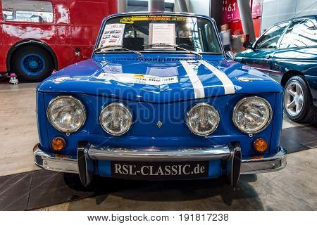 STUTTGART GERMANY - MARCH 03 2017: Small family car Renault R8 Gordini as sports car 1967. Europe's greatest classic car exhibition