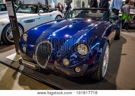 STUTTGART GERMANY - MARCH 03 2017: Roadster Wiesmann MF3 1998. Europe's greatest classic car exhibition