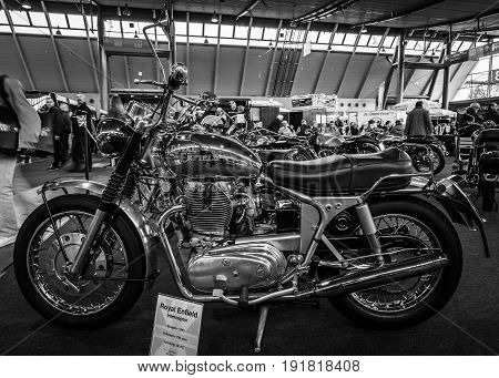 STUTTGART GERMANY - MARCH 03 2017: The motorcycle Royal Enfield Interceptor 1965. Black and white. Europe's greatest classic car exhibition