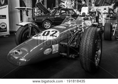 STUTTGART GERMANY - MARCH 03 2017: Formula Vee racing car (1965-1973). Black and white. Europe's greatest classic car exhibition