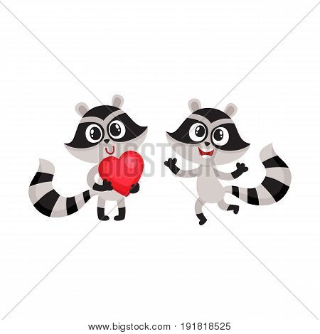 Two little raccoon characters, one holding big red heart, another jumping from happiness, cartoon vector illustration isolated on white background. Happy little raccoon friends showing joy and love