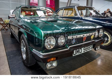 STUTTGART GERMANY - MARCH 03 2017: Sports car Reliant Scimitar GTE SE6A 1978. Europe's greatest classic car exhibition