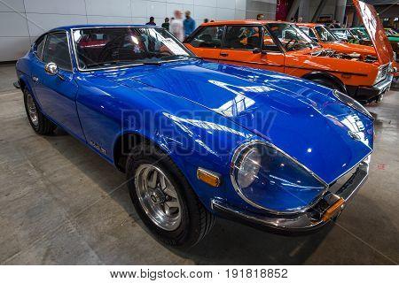 STUTTGART GERMANY - MARCH 03 2017: Sports car Datsun 260Z (Nissan S30) 1976. Europe's greatest classic car exhibition