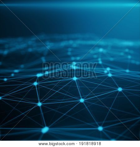 Technological connection in cloud computer, blue dot network, abstract background, Concept of Network Representing Internet Connections 3D rendering