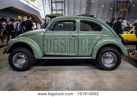 STUTTGART GERMANY - MARCH 03 2017: Subcompact Volkswagen Beetle 1973. Europe's greatest classic car exhibition