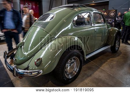 STUTTGART GERMANY - MARCH 03 2017: Subcompact Volkswagen Beetle 1973. Rear view. Europe's greatest classic car exhibition