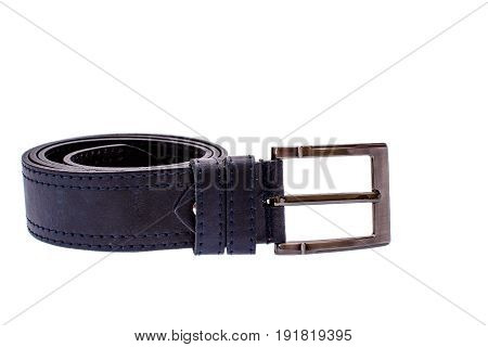 Fashionable Male Blue Leather Belt Isolated On White Background