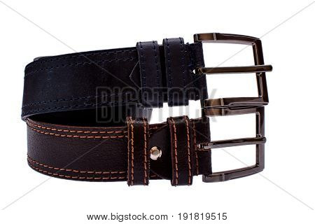 Several Fashionable Men's Leather Belts Gray Brown Isolated On White Background