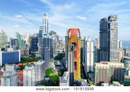 Amazing View Of Skyscrapers In Singapore. Summer Cityscape