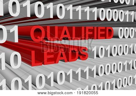 qualified leads in the form of binary code, 3D illustration