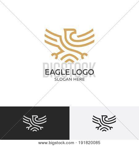 Gold eagle logo concept - vector illustration template, emblem design on a white background. EPS 10