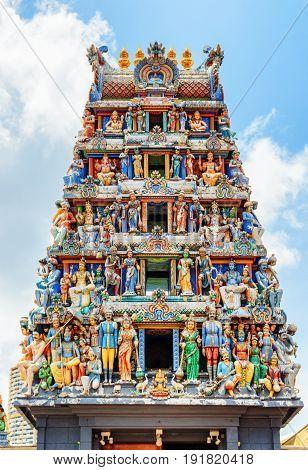 The Gopuram Of Sri Mariamman Temple. Hindu Temple At Singapore