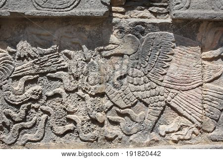 Bas-relief carving of eagle, pre-Columbian Maya civilization, Chichen Itza, Yucatan, Mexico. UNESCO world heritage site