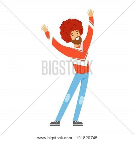 Cheering football fan character in red wig celebrating the victory of his team vector Illustration isolated on a white background