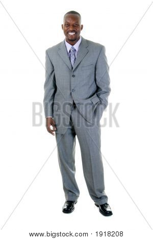 Handsome male fashion model in gray business suit. poster