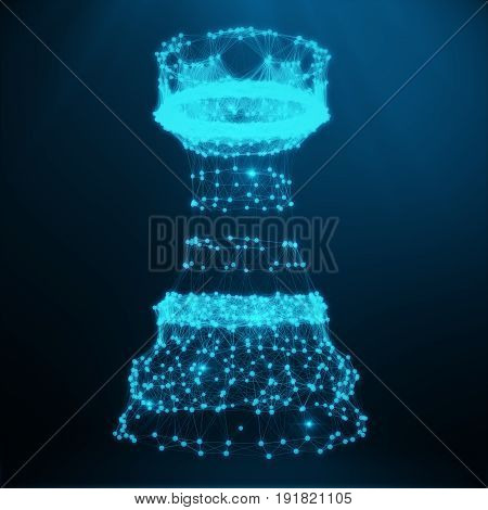Abstract Low Poly Chess Piece Rook consisting of blue dots and lines. Abstract business strategy illustration. 3D Rendering