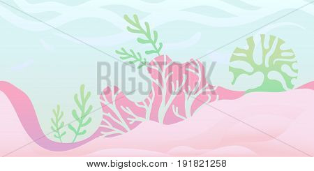 Seamless unending background for arcade game or animation. Underwater world with seaweed and coral. Vector illustration, parallax ready.