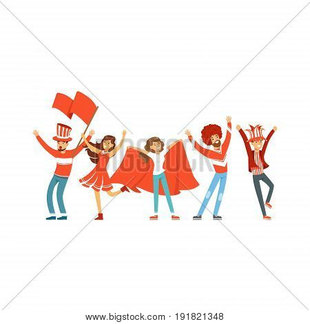Group of sport fans in red outfit with flags supporting their team vector Illustration isolated on a white background