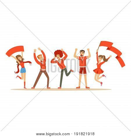 Group of sport fans in red outfit supporting their team shouting and cheering vector Illustration isolated on a white background
