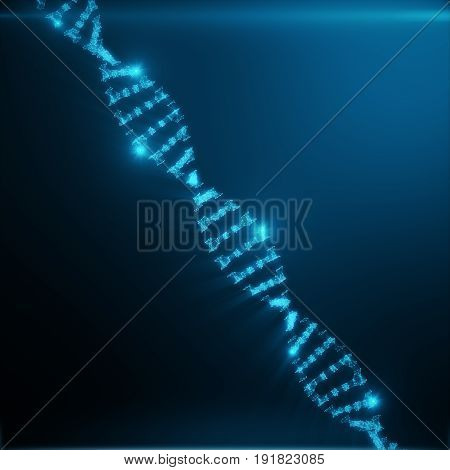 Polygonal DNA Concept onsisting of Blue Dots and Lines. Digital Illustration DNA Structure. DNA molecule structure. 3D rendering