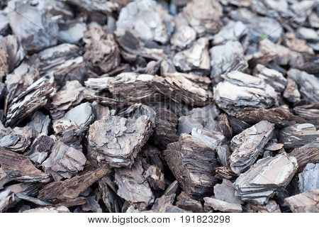 Shredded tree bark for decoration and mulching in landscape design. Crushed tree bark texture background closeup.