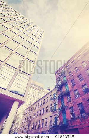 Vintage Stylized Photo Of Old And New Architecture In Dumbo, Ny.