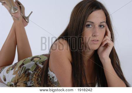 Girl Lying Looking Forward
