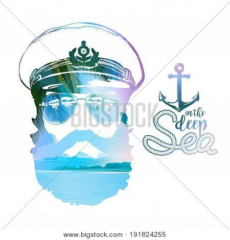 Double effect of captains Portrait. Beard, forage cap, sunglasses, anchor rope. Vector illustration Vintage nautical clubs and bars logo and emblems.
