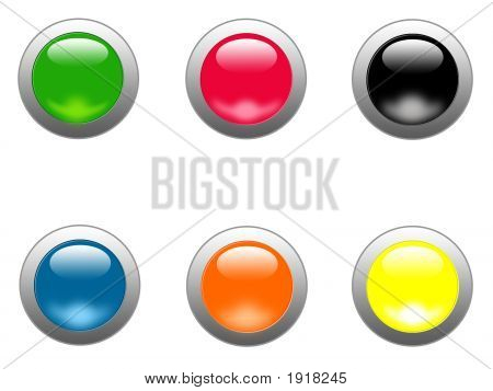 Colorful Glass Buttons With Metal Ring Around Them