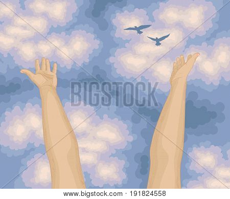 Human arms open upwards. Beautiful sunny day, view from below on a large trees with long branches, green leaves, blue sky with birds