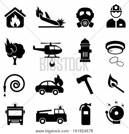 Fire fighting related web icon set in black