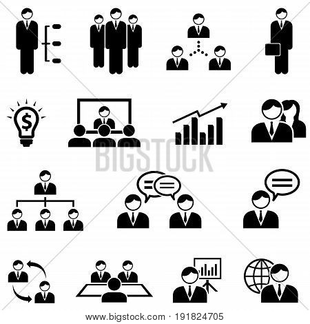 Management business and meeting web icon set