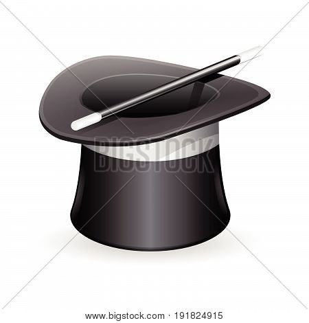 Mystic Magic Hat With Wand. Vector Illustration