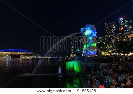Night Scene Of Merlion In Marina Bay Area Singapore City