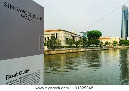 Boat Quay, A Historical District In Singapore With Tall Skyscrapers