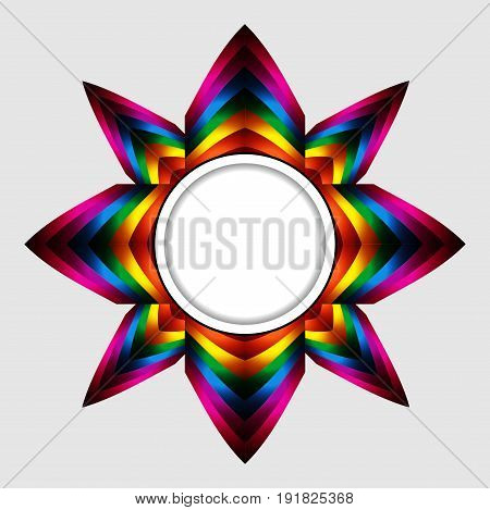 Abstract Colourful Star with White Border Copy Space