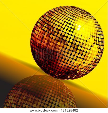 3D Illustration of Golden Disco Ball with Reflection Over Yellow and Brown Background