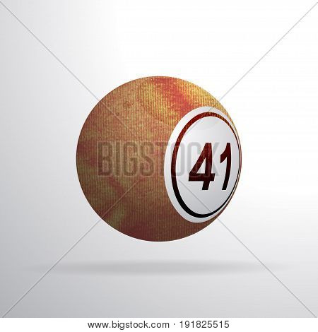 3D Illustration of a Bingo Lottery Ball Made of Brown Red Crumpled Material with Shadow