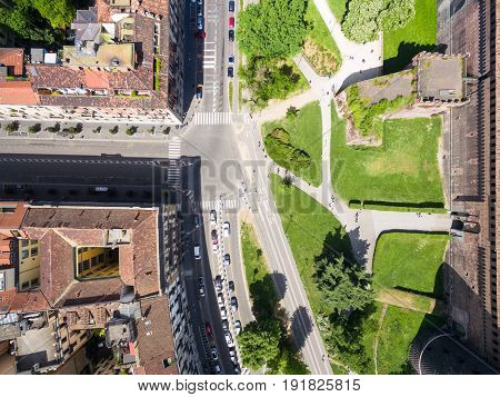 Aerial Photography View Of Sforza Castello Castle In  Milan City In Italy