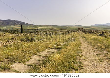 Archaeological Site of Volubilis ancient Roman empire city Unesco World Heritage Site located in Morocco near Meknes