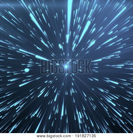 Abstract Background With Star Warp or Hyperspace. Abstract Exploding Effect. Hyperspace Travel. The Concept of Space Travel by Changing Time and Space. Blue tint background. 3D Rendering