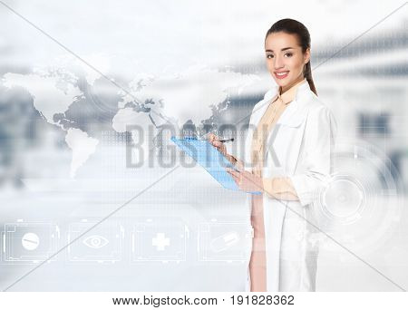 Female pharmacist with clipboard on blurred background
