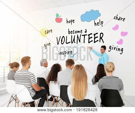 Group of people on meeting in conference room. Volunteer concept