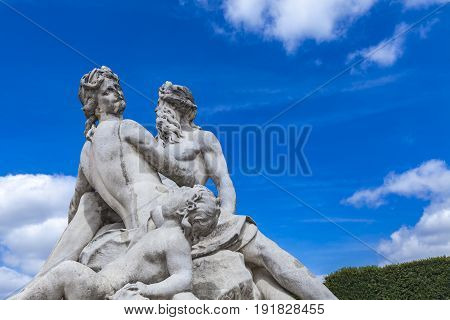 Statue La Seine Et La Marne Tuileries Garden In Paris