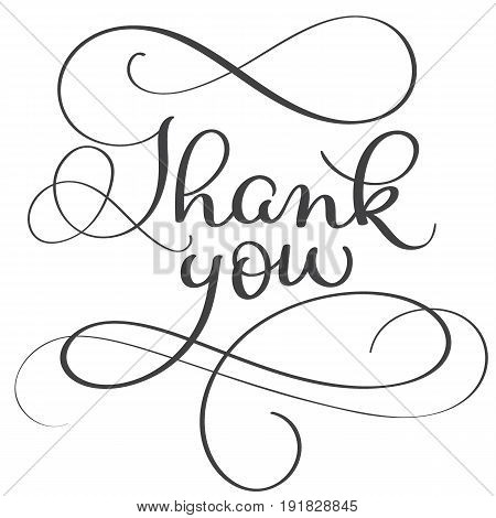 thank you words on white background. Hand drawn Calligraphy lettering Vector illustration EPS10.